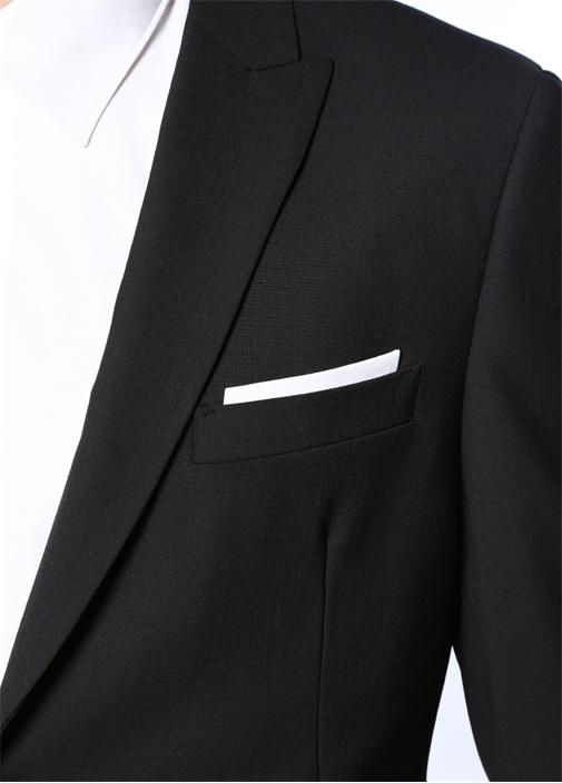 Slim Fit Siyah Kelebek Yaka Mendil Detaylı Takım