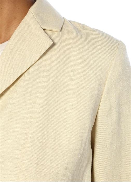 Overlay Ekru Kelebek Yaka Keten Blazer Ceket