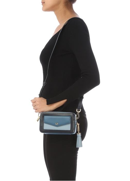 Lacivert Logolu Püskül Detaylı Kadın Deri Çanta