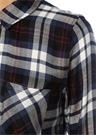 Liza Lacivert Beyaz Ekose Desenli Gömlek