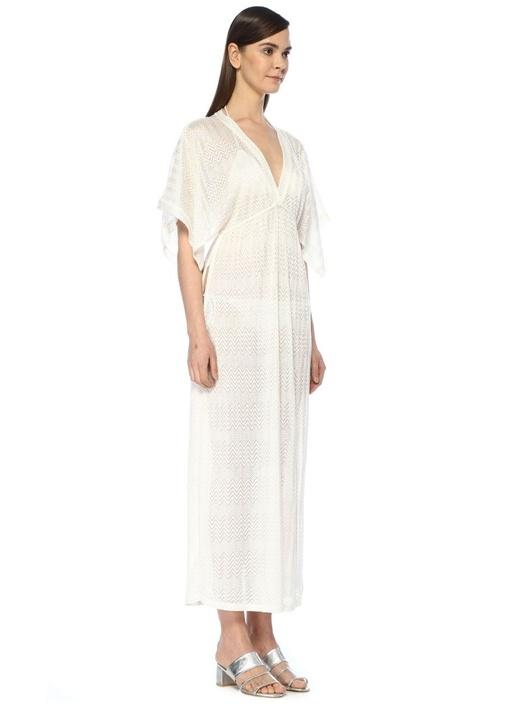 Beyaz Zikzak Desenli Üçgen Bikini Takımı