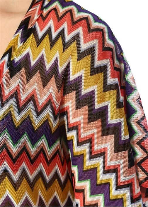 Renkli Zikzak Desenli V Yaka Mini Plaj Elbisesi