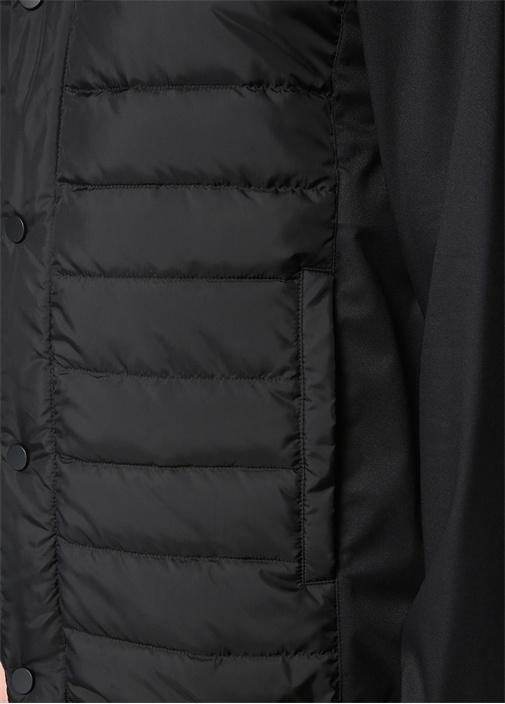 Siyah Kapüşonlu Garni Detaylı Puff Mont
