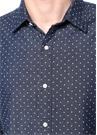 Slim Fit Lacivert Puantiyeli Denim Gömlek