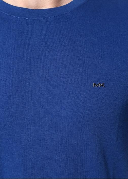Lacivert Bisiklet Yaka Logo Nakışlı T-shirt