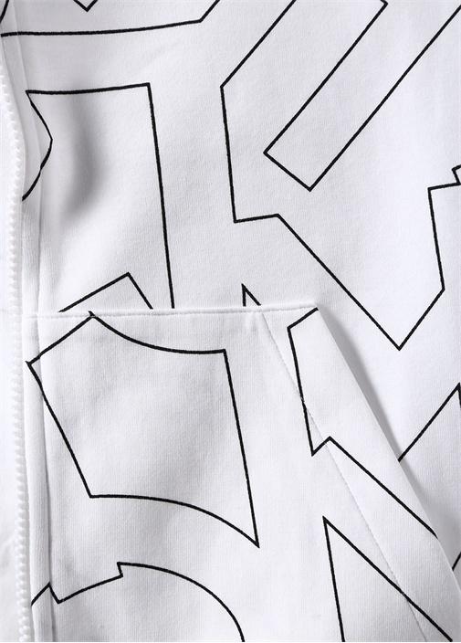 Beyaz Kapüşonlu Mikro Logo Baskılı Sweatshirt