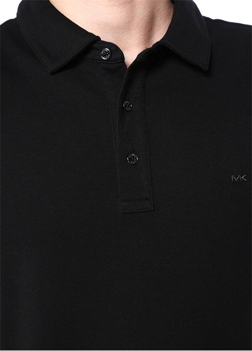 Siyah Polo Yaka Logo Nakışlı T-shirt