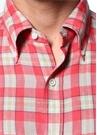Kırmızı Yeşil Düğmeli Yaka Kareli KetenGömlek