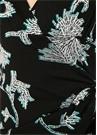 Marin Siyah Çiçekli Düğümlü Midi Anvelop Elbise