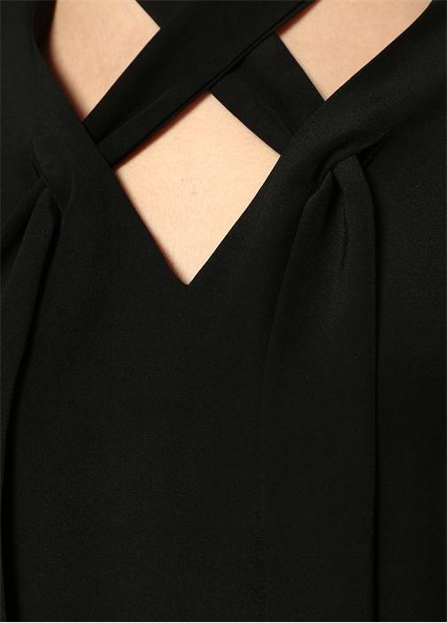 Jessamine Siyah Yakası Çapraz Askılı İpek Bluz