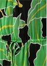 Camilla Yeşil Siyah Çiçekli İpek Plaj Elbisesi