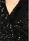 Parrish Siyah V Yaka İşlemeli Maksi Anvelop Elbise
