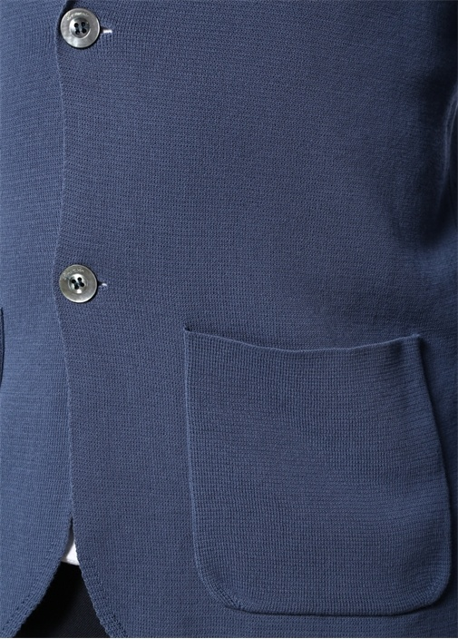 Mavi Kelebek Yaka Dokulu Triko Ceket