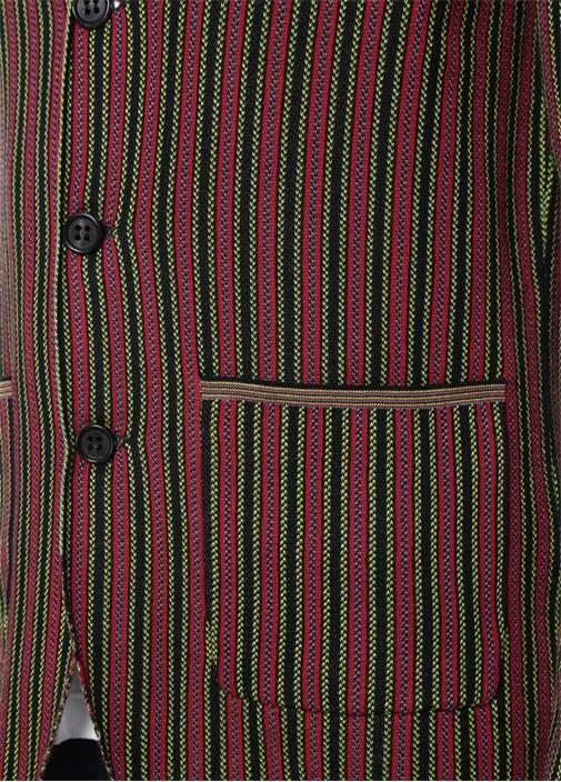 Kırmızı Kelebek Yaka Çizgili Triko Ceket