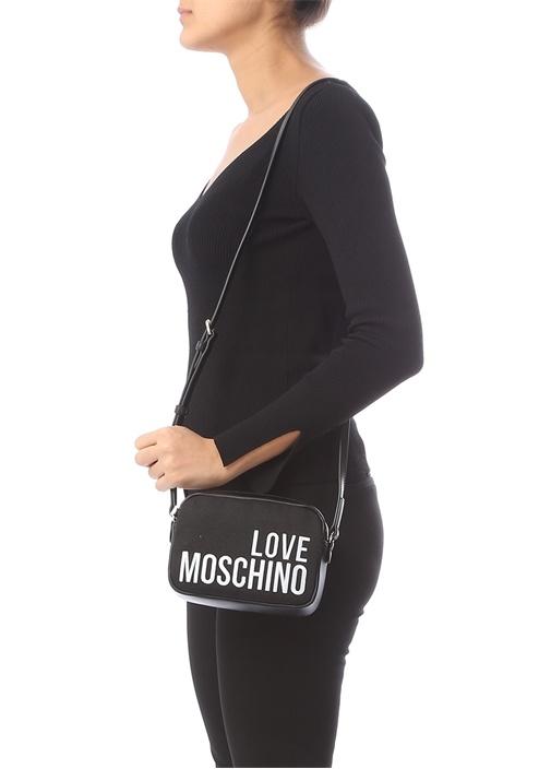 Siyah Beyaz Logo Nakışlı Kadın Kanvas Çanta
