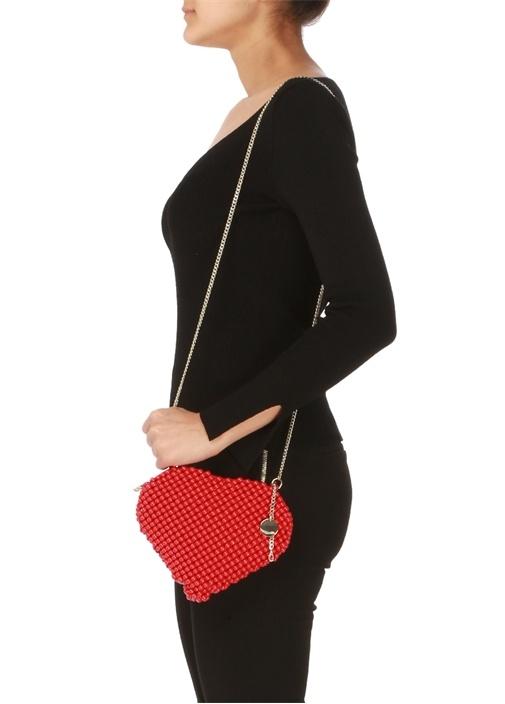 Kırmızı Kalp Formlu Kadın Abiye Çanta