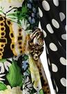 Celia Kalp Yaka Karışık Desenli Midi Elbise