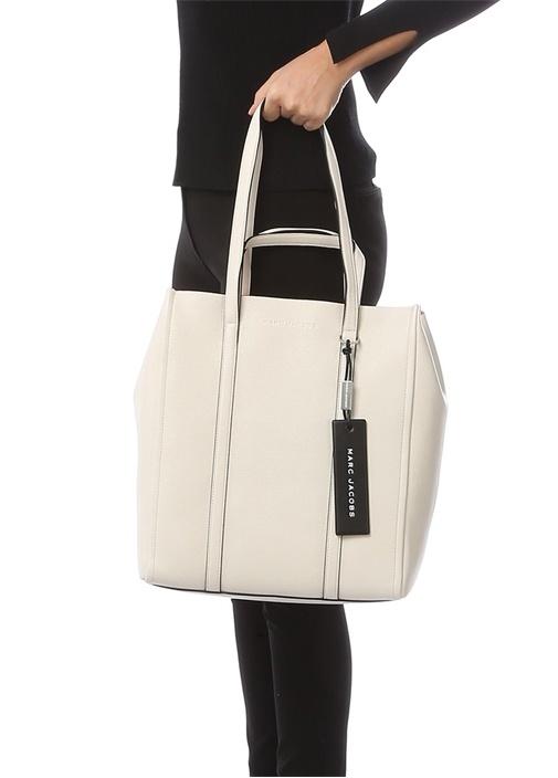 Beyaz Dokulu Kadın Deri Çanta