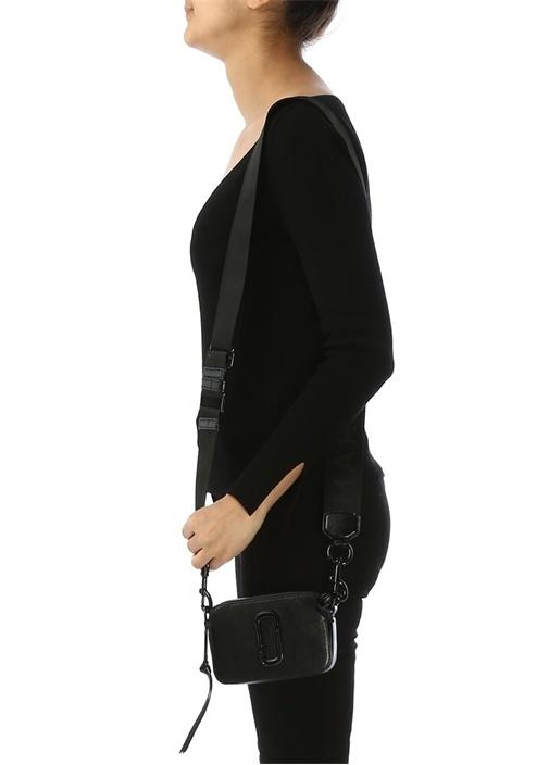 Snapshot Siyah Logolu Kadın Deri Omuz Çantası