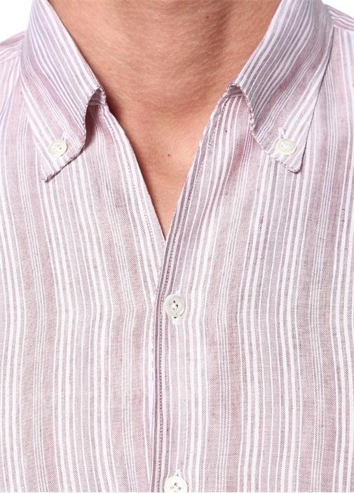 Bej Çizgili Düğmeli Yaka Keten Gömlek