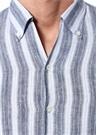 Mavi Beyaz Çizgili Düğmeli Yaka Keten Gömlek