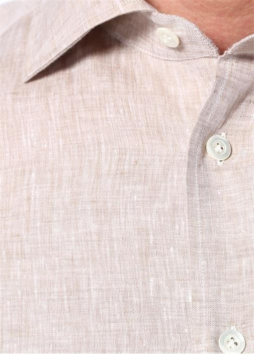 Bej İngiliz Yaka Keten Gömlek