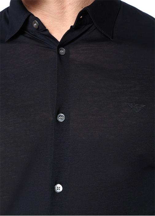 Lacivert İngiliz Yaka Logolu Gömlek