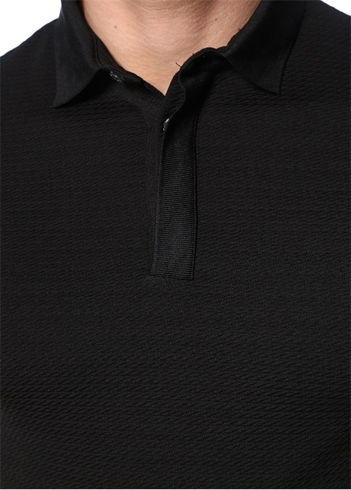 Siyah Polo Yaka Dokulu Basic T-shirt