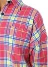 Pembe Ekoseli Sırtı Logo Baskılı Oversize Gömlek