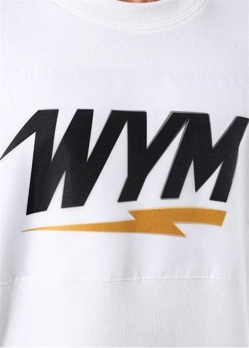 Beyaz Bisiklet Yaka 3D Logolu Sweatshirt