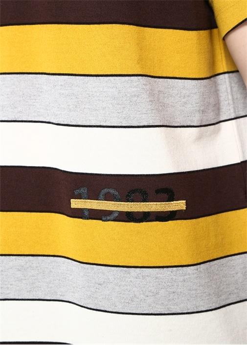 Colourblocked Yazı Baskılı Çizgili T-shirt