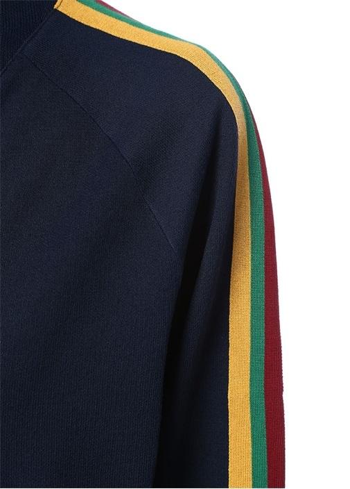 Lacivert Dik Yaka Renkli Şeritli Sweatshirt