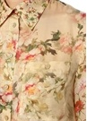 Bej Sivri Yaka Çiçekli Transparan İpek Gömlek