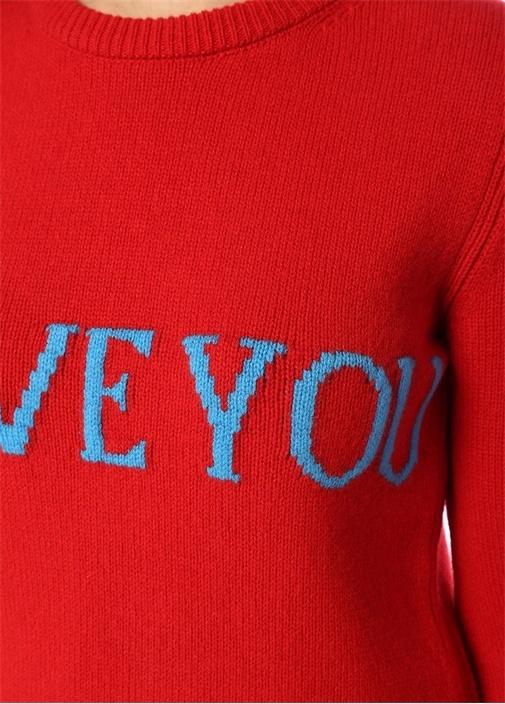 I Love You Kırmızı Yazı Jakarlı Yün Kazak