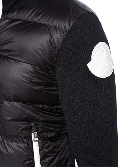 Siyah Dik Yaka Garnili Logo Patchli Mont