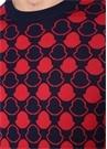 Lacivert Kırmızı Mikro Logo Jakarlı Triko Kazak