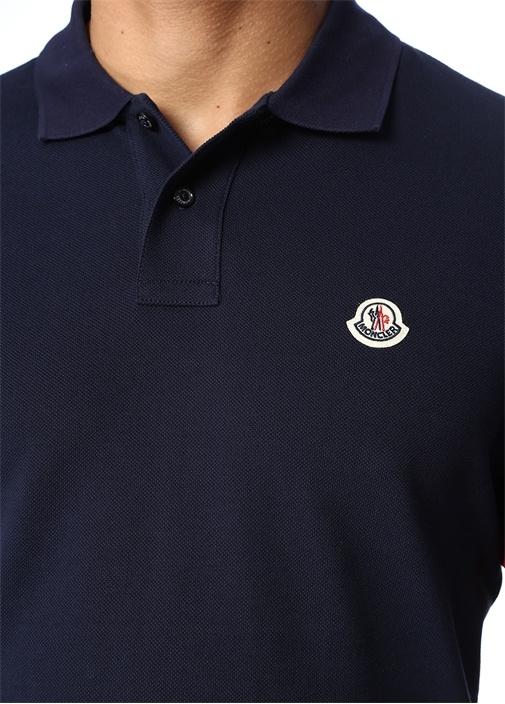 Lacivert Polo Yaka Kolu Şerit Logolu T-shirt