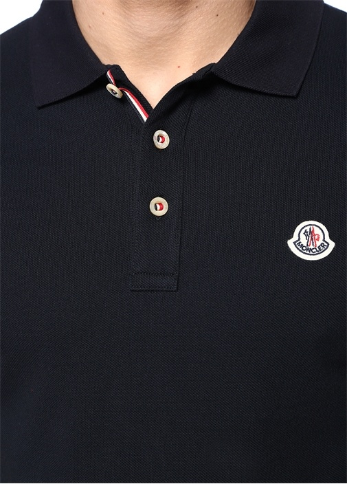 Lacivert Polo Yaka Logo Patchli T-shirt