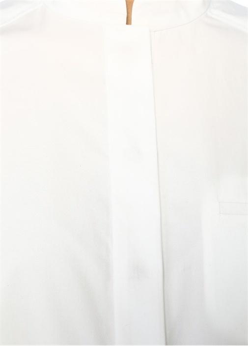 Beyaz Bisiklet Yaka Yarım Kol Oversize Bluz