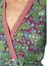 Stacia Yeşil V Yaka Çiçekli Anvelop Bluz