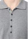 Gri Polo Yaka Pike Dokulu T-shirt
