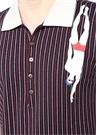 Lacivert Polo Yaka Çizgili Figür Detaylı T-shirt