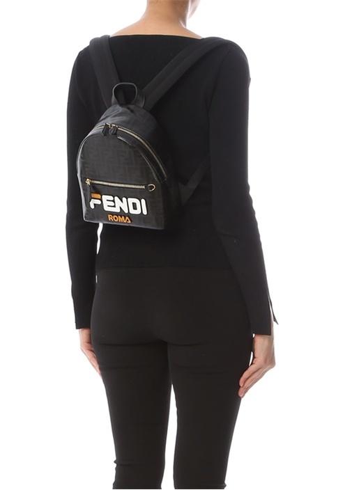 Fendi Mania Siyah Mini Logolu Kadın Sırt Çantası