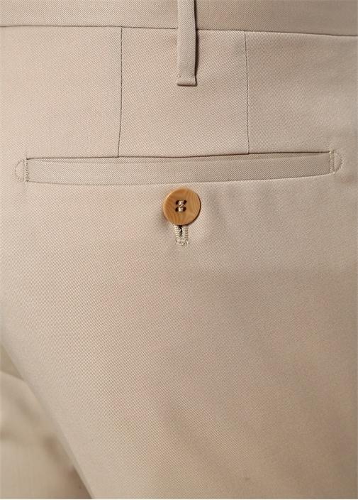 Bej Normal Bel Dar Paça Yün Pantolon