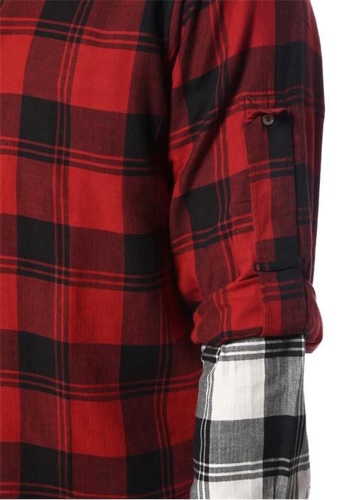 Siyah Kırmızı Kol Detaylı Ekose DesenliGömlek