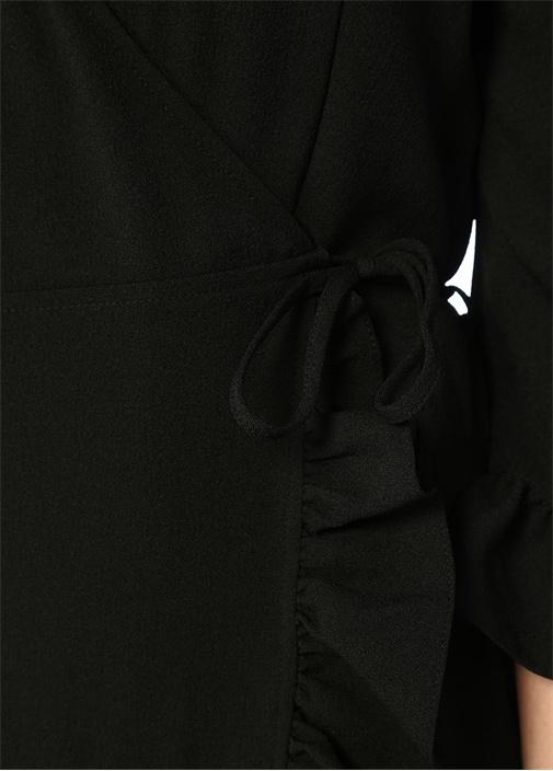 Siyah Asimetrik Kesim Fırfırlı Midi BoyElbise