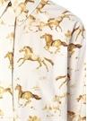 Beyaz At Baskılı Midi Boy Gömlek