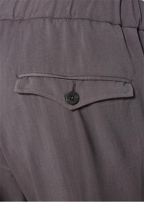 Gri Normal Bel Bağcıklı Yün Pantolon