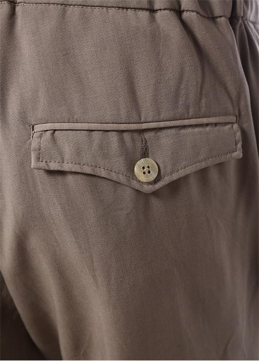 Bej Normal Bel Bağcıklı Yün Pantolon