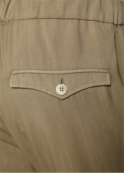 Yeşil Normal Bel Bağcıklı Yün Pantolon